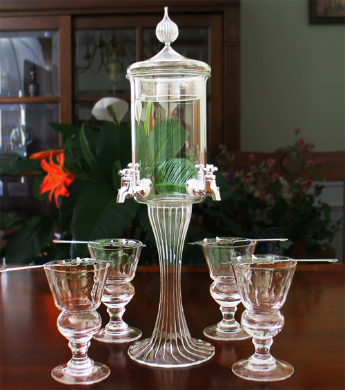 Blown Crystal Deluxe Absinthe Fountain Set 4 Spout