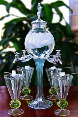 Blown Crystal Rozier Fee Absinthe Fountain Set 4 Spout